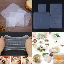 Food Grade Plastic Wrap Re-usable Fresh Keeping Wrap Kitchen Tools Silicone Food Wraps Seal Cover white one size
