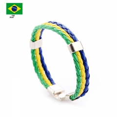 PU Imitation Leather Woven National flag Colour Leather Bracelets World Cup Country Bracelet 1 one size