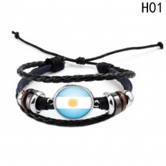 Western Style Manual Beaded World Cup National Flag Leather Rope Bracelets fan Souvenir 1 one size