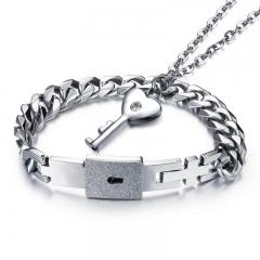 Valentine's Day Gift Concentric Lock Couple A Pair Bracelet Necklace Ms Key Men Bracelet silver one size