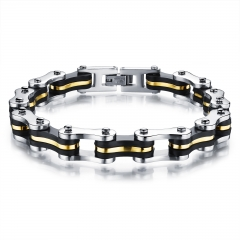 Men Cycling Chain Bracelet Domineering Titanium Steel Fashion Simple Accessories gold one size