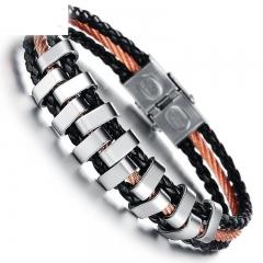 The New Simple Creative Fashion Retro PU Weave Men Bracelet black one size