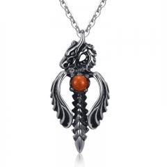Creative Titanium Steel Casting Dragon Sword Men Pendant Fashion Domineering Necklace black one size