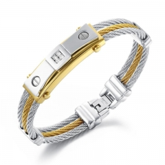 Wire Weave Hemp Rope wristband Men Between the gold Four Claws Diamond Titanium Steel Bracelet gold silver one size