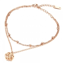 Hollow Camellia Rose gold Anklet Titanium Steel Ms Personality Fashion Foot chain gold one size