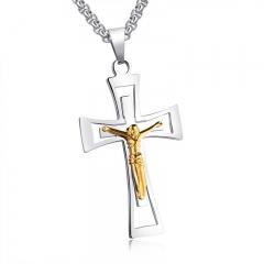 Simple Fashion Jesus Christian Cross Necklace Titanium Steel Men Pendant Ornaments white gold one size