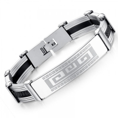 Men Smooth Wrinkle Silica gel Stainless Steel Fashion Personality Bracelet silver one size