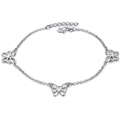 Creative Jewelry Butterfly Accessories Platinum Girls Fashion Personality Anklet white one size