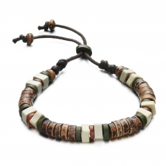 Men Fashion Personality Ceramics Bracelet Manual Weave Beaded Hand Strap brown one size
