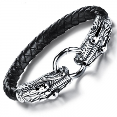 Western Style Personality Stainless Steel Buckle fine Gift Men Fashion Leather Bracelet black one size