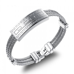 Men Three Laps Wire Weave Hemp Rope Stainless Steel Personality Fashion Wristband silver one size