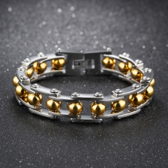 Men Fashion Personality Trend Stainless Steel Between the gold Bracelet gold one size