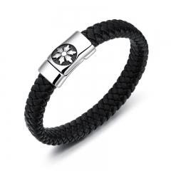Fashion Personality Titanium Steel Cowhide Men Trend Student Bracelet black one size