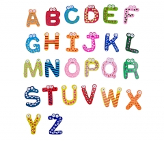 Wooden Educational Aids 26 English Alphabets Letter Refrigerator Fridge Stickers Toys 26 sets one size