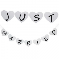 Married Bunting Banner Photo Booth Props Garland Romantic Wedding Decoration Bunting Party white one size