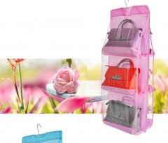 Dustproof Storage Bag Six-layer Double-sided Multi-functional HandBag Storage Hanging Bag pink one size