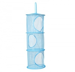 Color network Hanging Multi-layer Storage Cage Hanging cage Cylindrical Storage bag Hanging basket blue one size