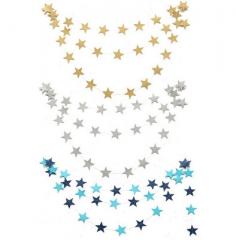 Creative Pearl light Cardboard star Hanging ornament Charm Pull flower wedding festival celebrate blue one size