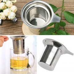 Tea leak Tea residue Funnel Rounded edge Single network Tea net Filter  Tea set Accessories silver one size