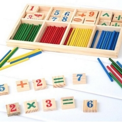 Baby Early learning Education Math Toys Wooden Counting Sticks Toys Montessori Mathematical white one size
