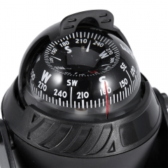 LED Light Digital Compass Magnetic Sphere Marine Military Electronic Boat For Marine Boat Car black one size