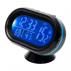 Car Ornament Dual  Clock Thermometer Voltage Tester Dashboard LED Lighted Watch Gauge Voltmeter