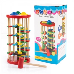 Wooden Knocking the ball Falling ladder child Hand eye coordination baby Knock Rotate Playing table 1 one size
