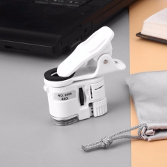 LED light Take a photo magnifier 60 times Mini Portable universal Phone clip HD microscope white one size one size no