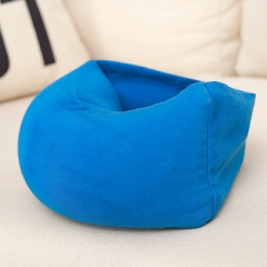 Travel Adult Neck Protection Pillow Eye Mask Nap Safety Strap Comfortable Pillow Seat Support blue one size