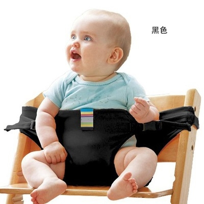 Portable Seat Dining Lunch Chair Seat Safety Belt Stretch Wrap Feeding Chair black one size