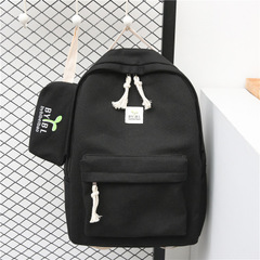 The New Bean sprouts Two-piece suit backpack Wild fashion Small fresh canvas student bag black one size