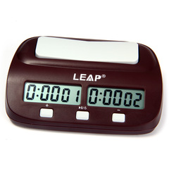 LEAP Digital Chess Clock Count Up Down Timer Electronic Board Game Player Set Brown one size