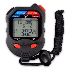 PC100D Memories Stopwatch Utility LCD Digital Handheld Stopwatch With Calendar Alarm Timer Function black one size