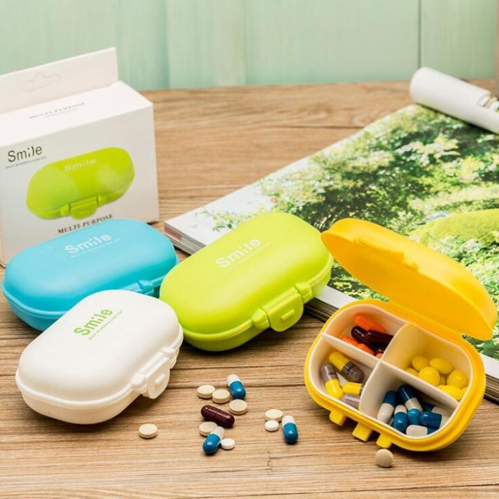 4 Compartments Pillbox Vitamin Medicine Pill Container Makeup Storage Case