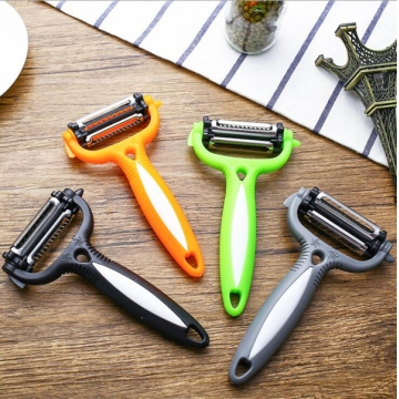 3 in1 Multifunctional Potato Peeler Vegetable Cutter 360 Degree Rotary black one size