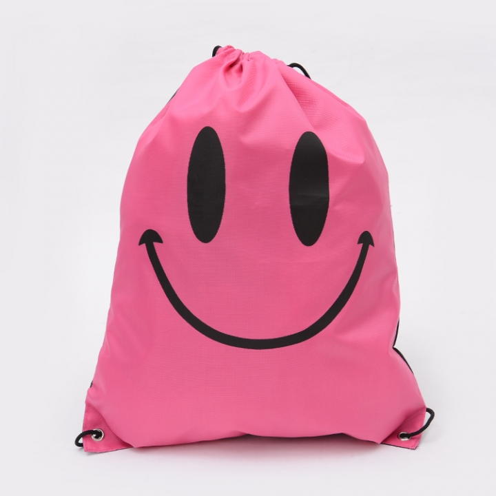 1 Piece Drawstring Backpack Bags for Outdoor Activities(Smile Pattern ) pink 41*34cm