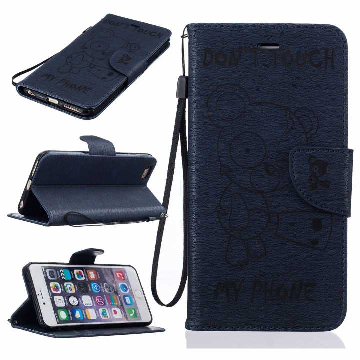 new arrivals 5977b 11621 iPhone 6 Plus/6s Plus Case,PU Leather Flip Wallet Protective Case With  Lanyard/Card Slot (Deep blue) For Apple iPhone 6 Plus/6s Plus