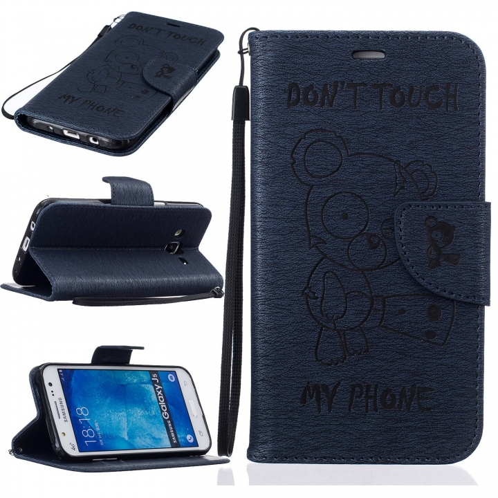on sale 2249d ff20f Galaxy J5 2015 Case,PU Leather Flip Wallet Protective Case With  Lanyard/Card Slot/Stand (Deep blue) For Samsung Galaxy J5 2015