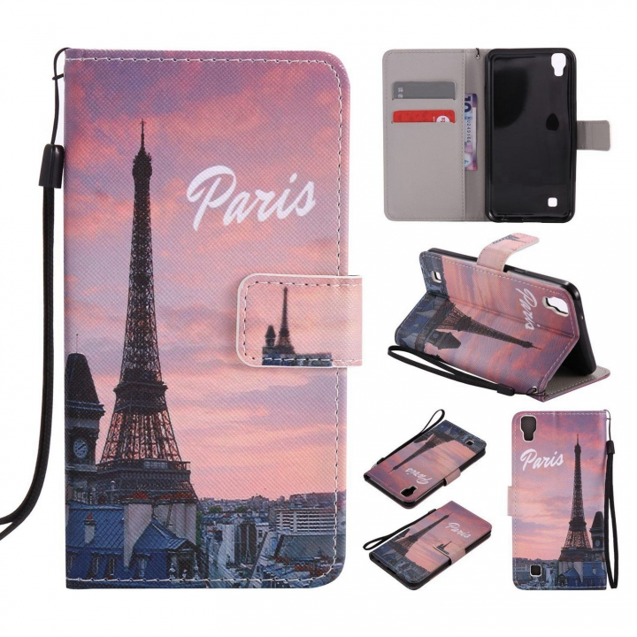 LG X Power Case,PU Leather Flip Wallet Case (pattern 1) For LG