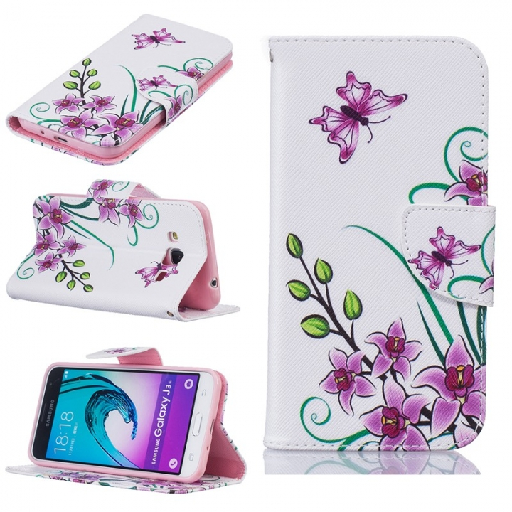 Galaxy J3/J3 2016 Case,PU Synthetic Leather Stand Folio Flip with Card Slot