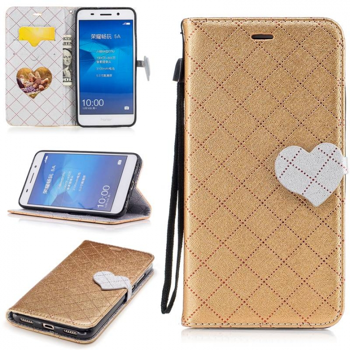 san francisco 31685 d3e19 Huawei Honor 5A/Y6 II Case,PU Leather Wallet Flip Phone Case Cover with  Card Slot (Gold) For Huawei Honor 5A/Huawei Y6 II