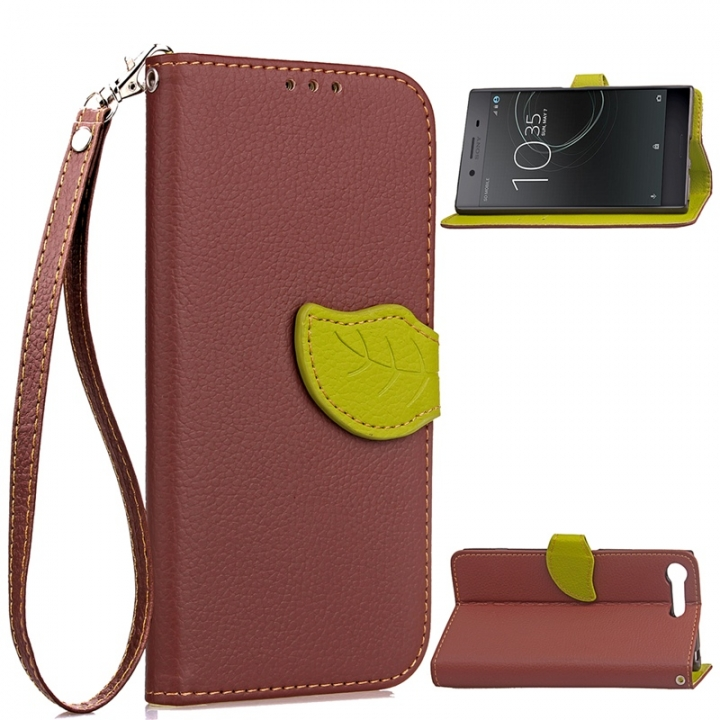 the latest 555fd 77bc3 Sony Xperia XZ premium Case,[Card Slots][Stand] PU Leather Wallet Case with  Wrist Strap (brown) For Sony Xperia XZ premium