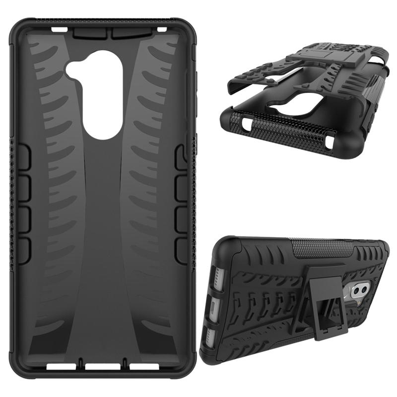 Huawei Honor 6X Case,Hard PC+Soft TPU Shockproof Tough Dual Layer Cover  Shell (black) For Huawei Honor 6X