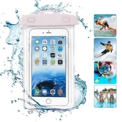 6 inch mobile phone waterproof bag, creative luminous touch screen swimming bag (white + lanyard) One size 6 inch mobile phone universal 100