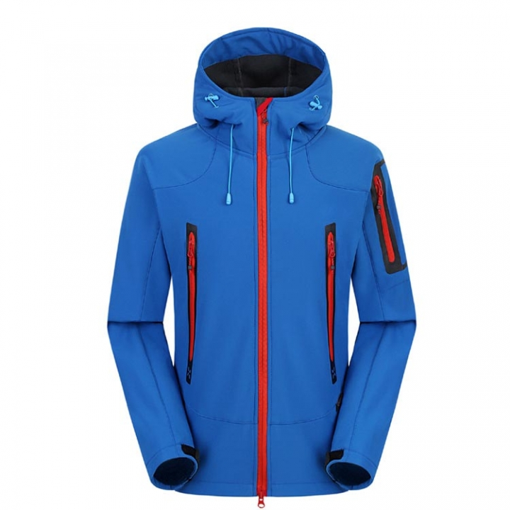 Autumn Winter Men Outdoor Warm Fleece Softshell Jackets Windproof Waterproof Hiking Mountain Climbing Coat Jacket Blue