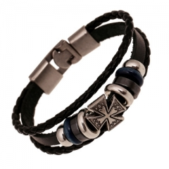 2017 Vintage Fashion Hand-Woven Cowhide Bracelets colorful one size
