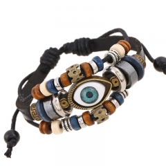Beaded Leather Bracelet Genuine Leather Bracelet  Eye pattern black one size