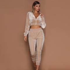 Pure color sports casual suit women's autumn and winter warm diamond velvet two-piece set gray s