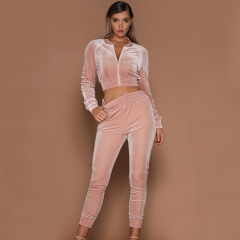 Pure color sports casual suit women's autumn and winter warm diamond velvet two-piece set pink xl
