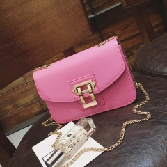 Women's Fashion Single Shoulder Bag Slant Slung Bag Female PU skin lock small square bag pink onesize
